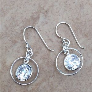Sterling Silver 925 Large Cubic Zirconia CZ Dangle